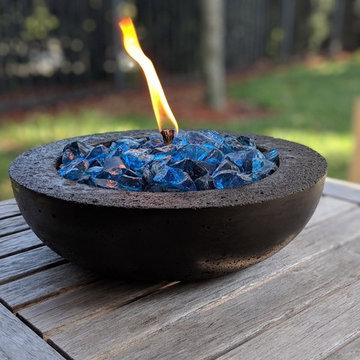 Black Concrete Tabletop Fire Pit