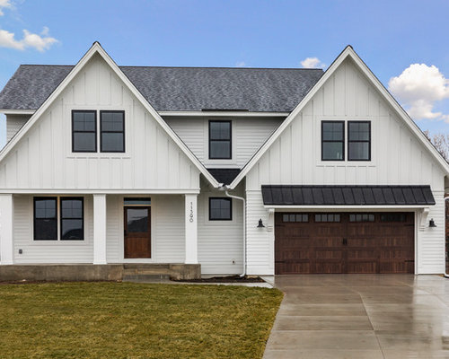 Farmhouse White Two Story Vinyl Gable Roof Idea In Minneapolis With A  Shingle Roof