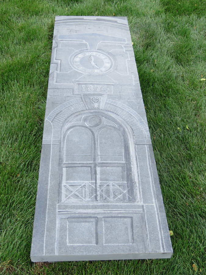 Bluestone Bench Garden Feature: Lenapi Hall Clock: Stone carving and rendering