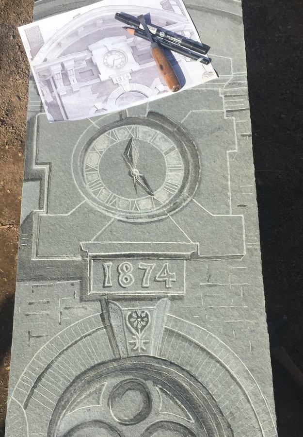 Bluestone Bench; Stone Carving -Lenapi Hall Clock: Process Photo