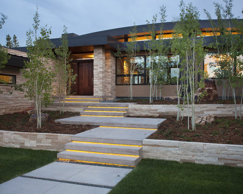 Inspiration for a contemporary two story exterior home remodel in denver