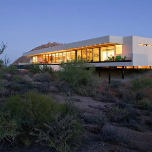 Inspiration for a large modern white one-story exterior home remodel in Phoenix