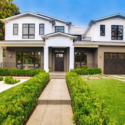 Example of a transitional multicolored two-story exterior home design in Los Angeles