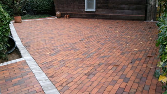 Brick driveway over living space