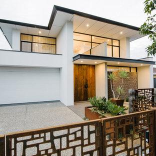 Großes, Zweistöckiges, Weißes Modernes Haus mit Mix-Fassade und Flachdach in Adelaide