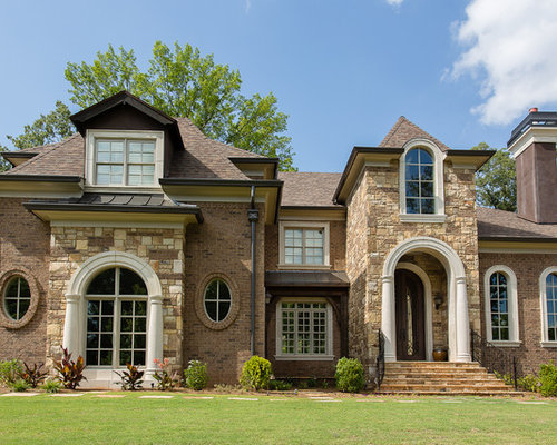 Brown gutters houzz for Brick and stone exterior ideas
