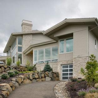 Contemporary wood exterior home idea in Portland