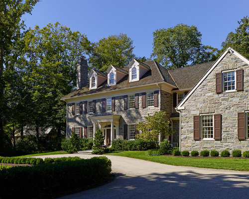 Colonial revival stone home design ideas pictures for Diy stone house revival