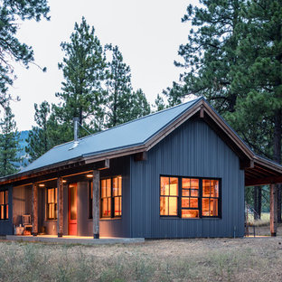 Rustic gray one-story metal exterior home idea in Other with a metal roof