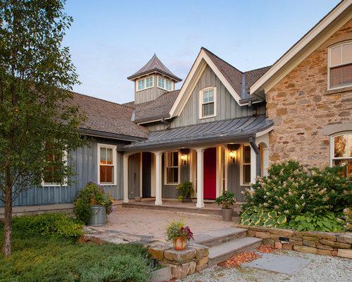 Farmhouse Mixed Siding Exterior Home Design Ideas