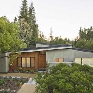 Идея дизайна: одноэтажный, большой, разноцветный дом в стиле модернизм с комбинированной облицовкой и односкатной крышей