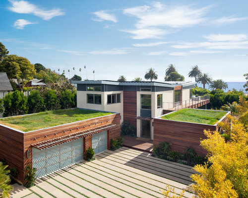 Flat roof garage houzz - Two story flat roof houses with garage ...