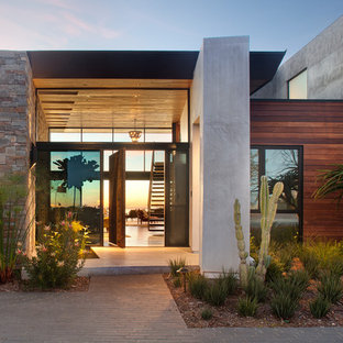 Large modern gray two-story mixed siding exterior home idea in San Diego
