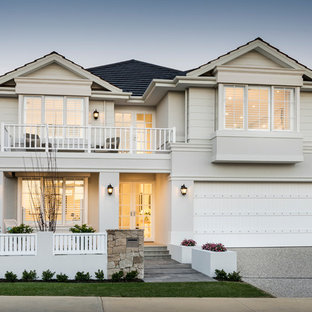 Inspiration for a transitional two-storey white house exterior in Perth with mixed siding, a gable roof and a shingle roof.