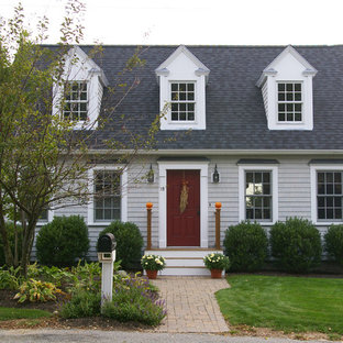 Example Of A Classic Gray One Story Exterior Home Design In Boston With A  Shingle