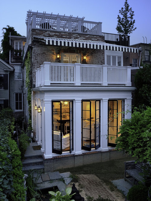 Rowhouse roof deck home design ideas pictures remodel for Beautiful back doors