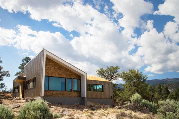 Haus an der Küste Dachterrasse Holzgeländer Ausblick See Superior USA