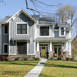Arts and crafts gray two-story vinyl exterior home photo in Indianapolis