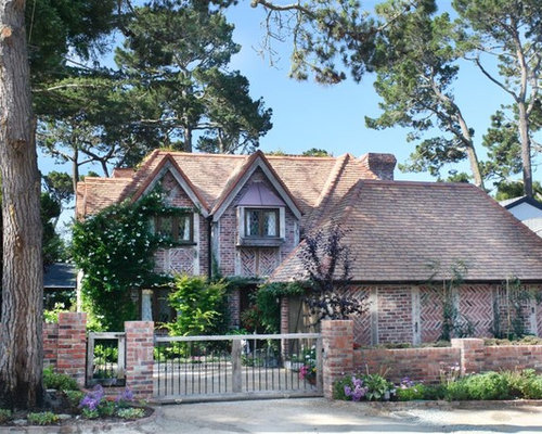 French Country Brick Exterior Home Design Ideas Remodels