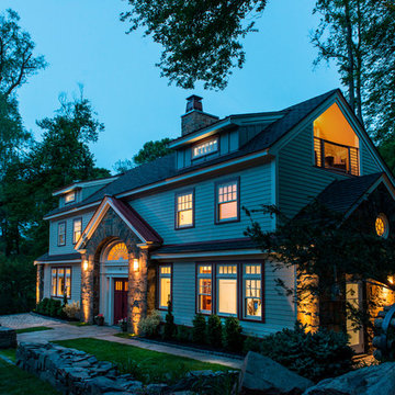 Carriage House Renovation - Exterior at Dusk