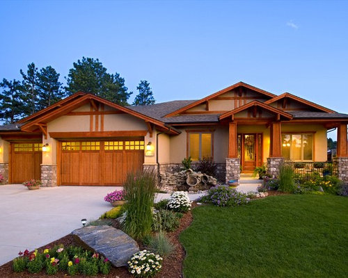 Craftsman exterior home design ideas remodels photos Craftsman style gables