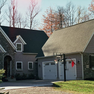 Example Of A Large Classic Gray Three Story Mixed Siding Exterior Home  Design In Cleveland