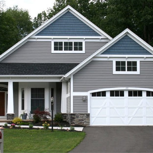 Mid Sized Craftsman Green Two Story Vinyl Gable Roof Idea In New York With