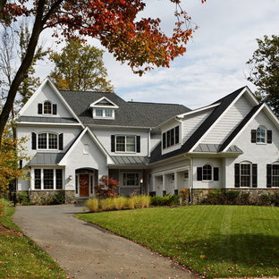Traditional white three-story mixed siding gable roof idea in DC Metro with a shingle roof