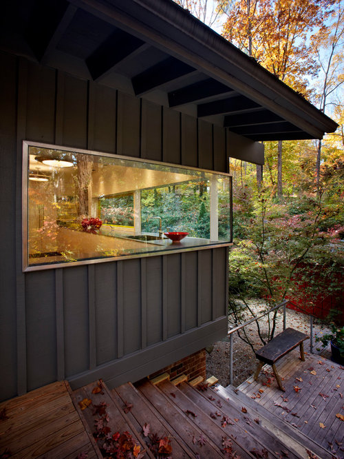 Ex&le of a trendy metal exterior home design in Raleigh & Corner Window Kitchen | Houzz Pezcame.Com