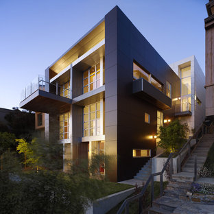 Example of a trendy three-story house exterior design in San Francisco