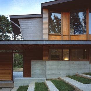 Inspiration for a huge contemporary two-story wood exterior home remodel in Boston