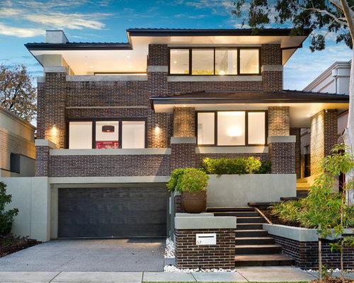Modern elevation houzz for Brick elevation design
