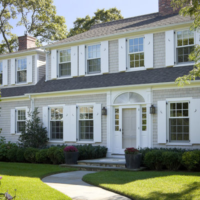 Elegant two-story wood exterior home photo in Boston