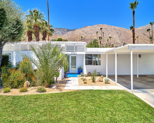 midcentury modern white one story exterior home idea in other