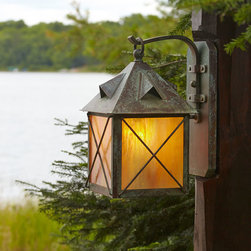 Close Up Of Exterior Wall Light On Wood Post Stonehaven Lantern 8 Wi