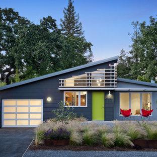 Свежая идея для дизайна: одноэтажный фасад дома серого цвета в стиле ретро с облицовкой из ЦСП и односкатной крышей - отличное фото интерьера