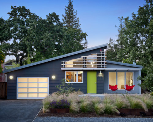 Example Of A 1950s Gray One Story Exterior Home Design In San Francisco  With A
