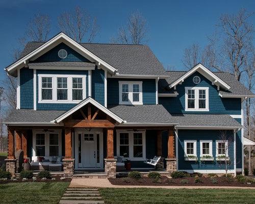 Craftsman blue exterior home design ideas remodels photos for Big cute houses