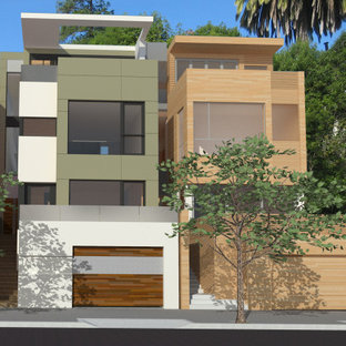 Inspiration for a large modern green four-story mixed siding exterior home remodel in San Francisco