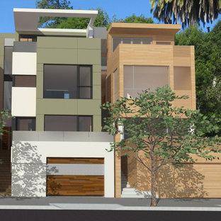 サンフランシスコのモダンスタイルのおしゃれな家の外観 (混合材サイディング、緑の外壁、アパート・マンション) の写真
