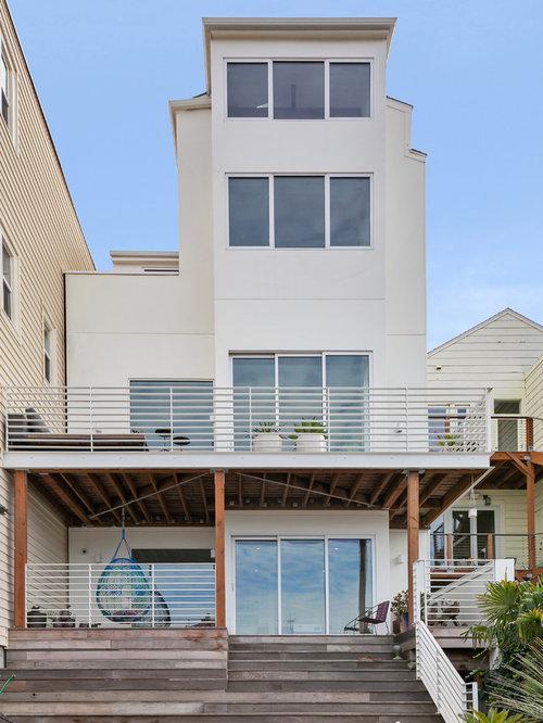 Scandinavian stucco exterior home design ideas remodels for Scandinavian style homes exterior
