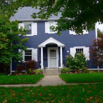 Colonial Exterior Remodel, Deep Ocean Blue Color James Hardie Siding, Deerfield