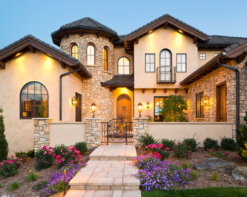 Mediterranean tuscan gable roof home design ideas for Tuscan roof design