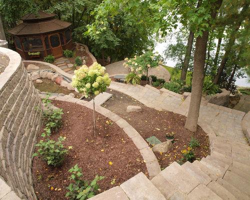 Concrete Block Raised Patio Backyard Terrace with Allan