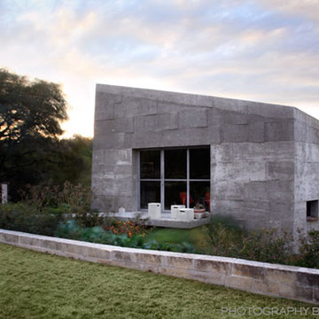 Concrete Studio Exterior at Dusk