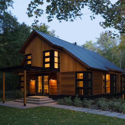 Trendy wood gable roof photo in Burlington