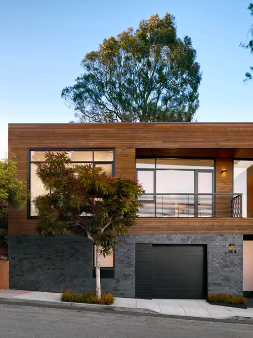 Example Of A Trendy Wood Exterior Home Design In San Francisco