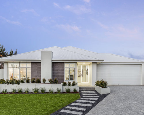 design ideas for a midsized onestorey grey exterior in perth with