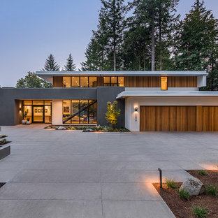 Trendy multicolored two-story mixed siding exterior home photo in Portland