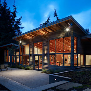 Ex&le of a trendy one-story exterior home design in Seattle & Exterior Lighting | Houzz